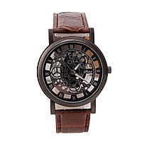 Мужские классические наручные часы «Skeleton» корпус в цветовой схеме карбон