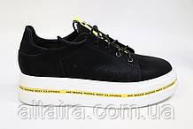 Слипоны женские, черные на шнурке из натуральной кожи Жіночі сліпони шкіряні,чорного кольору.