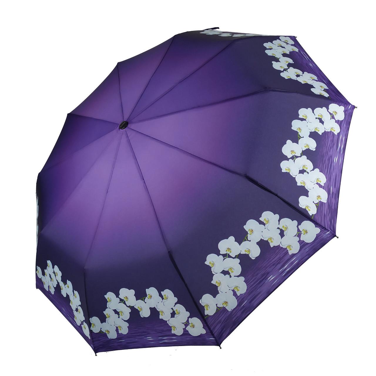 Женский зонтик полуавтомат с орхидеями от Flagman / Флагман, фиолетовый,  733-8