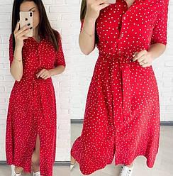 Красивое летнее платье в горошек (красный, черный)