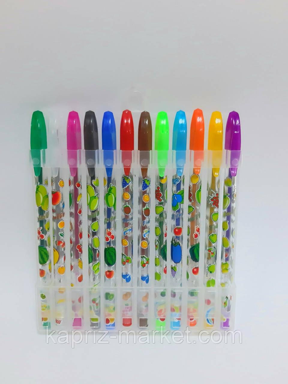 Набір ручок гелевих з блискітками, 12 кольорів