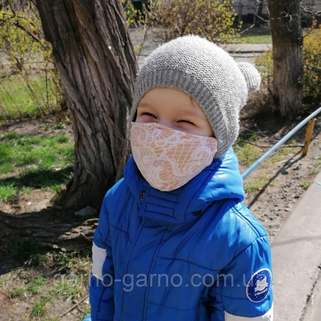 Багаторазова 3 шарова захисна трикотажна тканинна маска, маска для обличчя багаторазова Дитячий або Дорослий