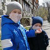 Багаторазова 3 шарова захисна трикотажна тканинна маска, маска для обличчя багаторазова Дитячий або Дорослий, фото 9
