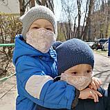 Багаторазова 3 шарова захисна трикотажна тканинна маска, маска для обличчя багаторазова Дитячий або Дорослий, фото 2