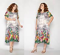 Модное женское платье летнее с рисунком размеры 54-58