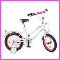 Детский двухколесный велосипед 14 дюймов , велосипед детский двухколесный для девочек бело розовый