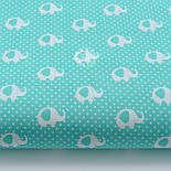 "Лоскут ткани ""Мини слоны и горошек"" на бирюзовом, коллекция Mini-mikro, №2128а, фото 2"