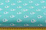"Лоскут ткани ""Мини слоны и горошек"" на бирюзовом, коллекция Mini-mikro, №2128а, фото 3"