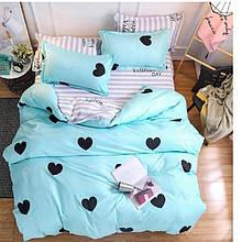 Семейный комплект постельного белья с сердцами (бирюзовый)