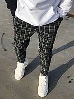 Серые мужские спортивные штаны smm в клетку