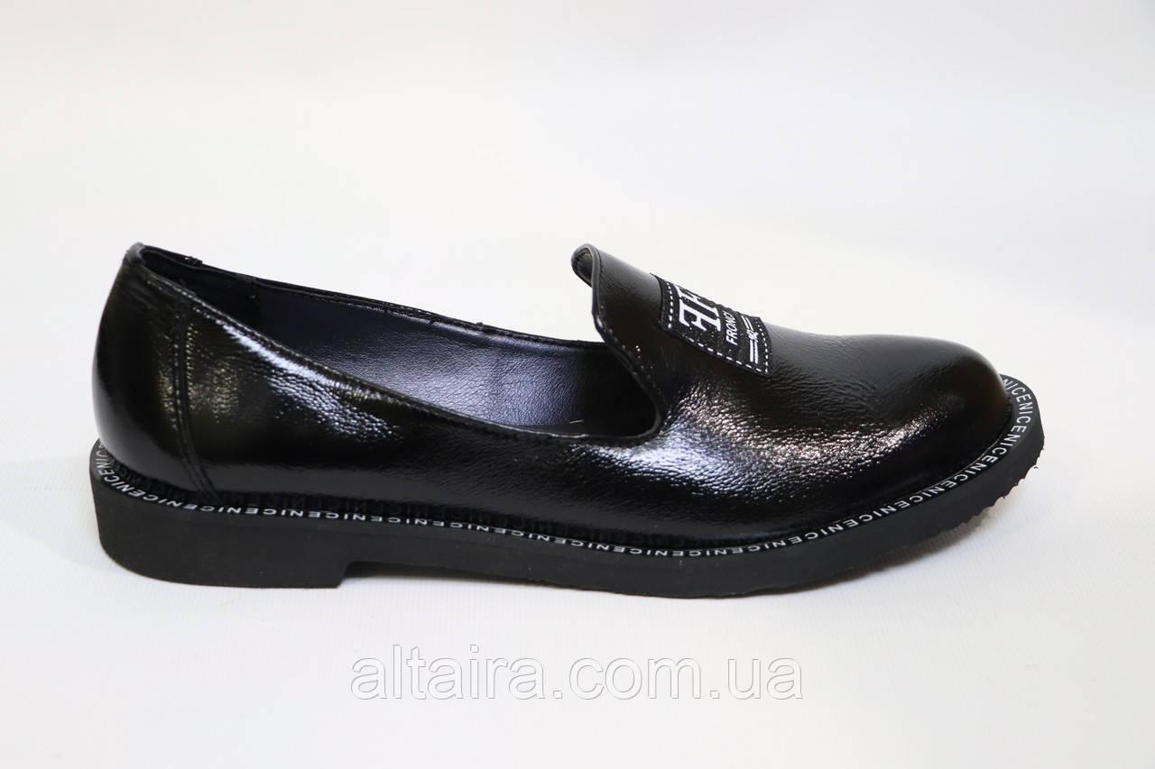 Женские черные туфли, из натуральной кожи. Жіночі шкіряні туфлі чорного кольору. Лоферы.