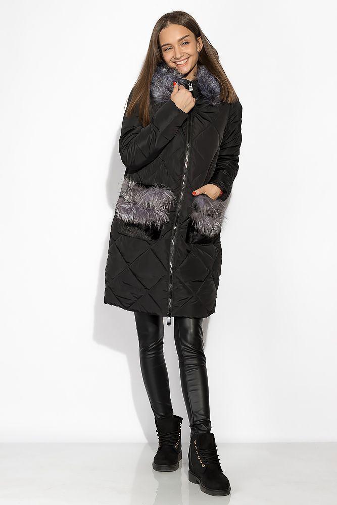 Женская куртка с мехом на кармане 120PSKL2089
