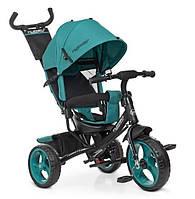 Велосипед детский трехколесный с ручкой Turbotrike (берюза)