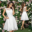 Платье вечернее пышное короткое без рукав шифон+гипюр 42,44,46, фото 5