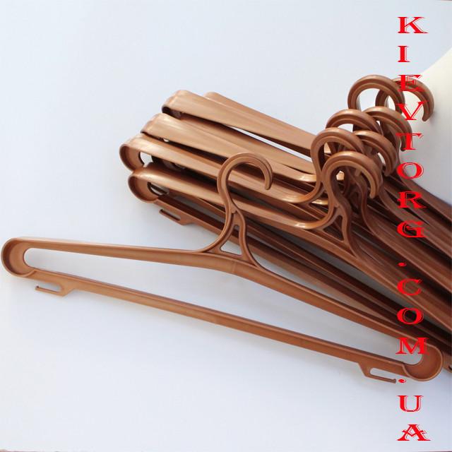 Вешалка плечики тремпель пластмассовый для верхней одежды бронза, 42 см и 46 см, 5 шт