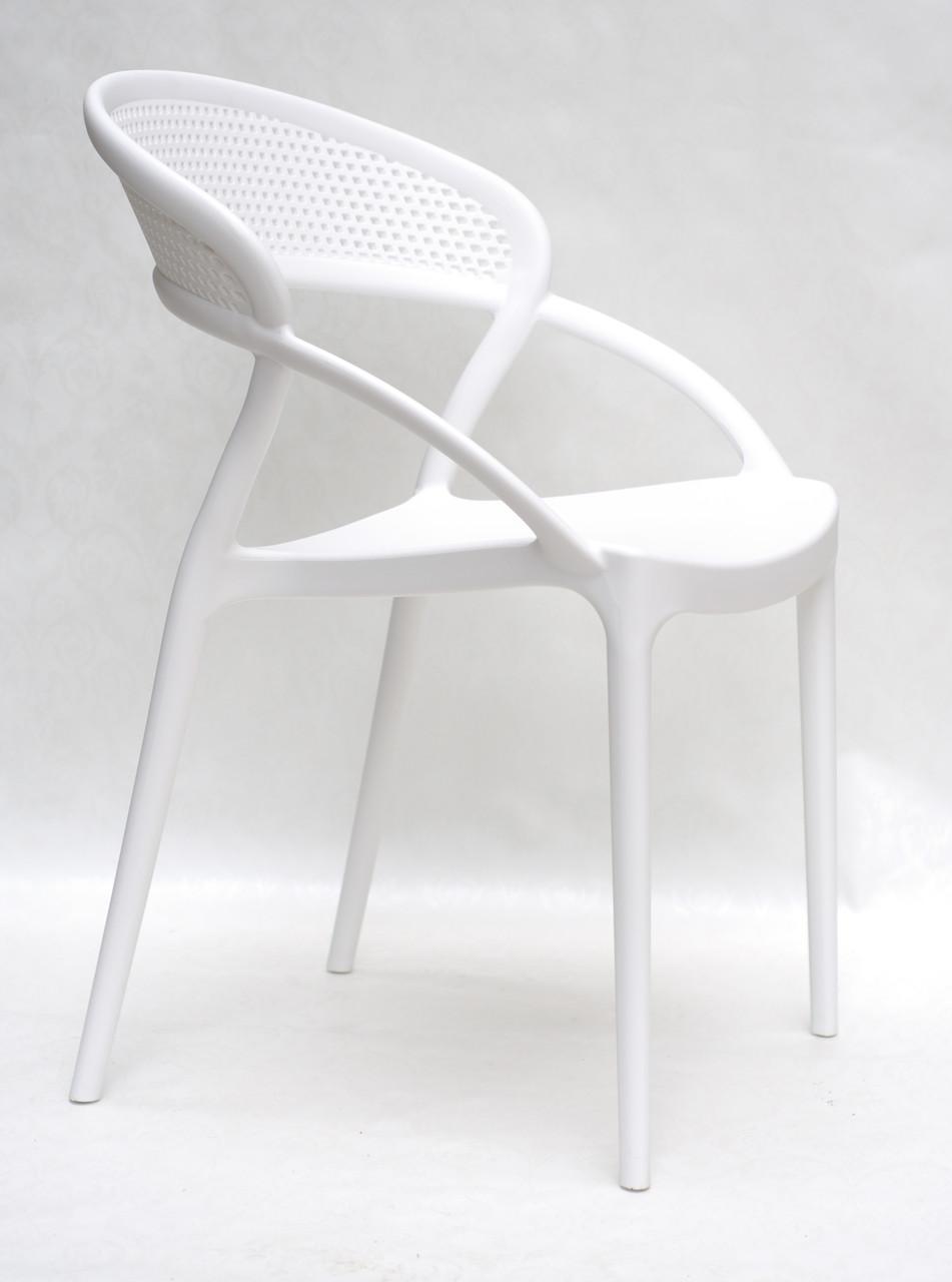 Штабелируемый стул пластик с подлокотниками Nelson (Нельсон), белый