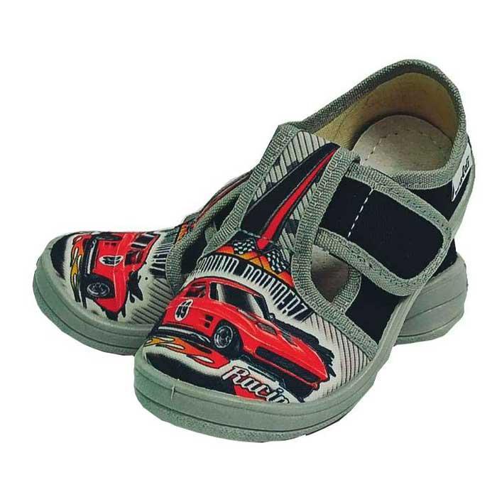 Тапочки капчики текстиль для мальчика хлопця валди waldi для садика Гриша Racing черный.Размеры 24-30.