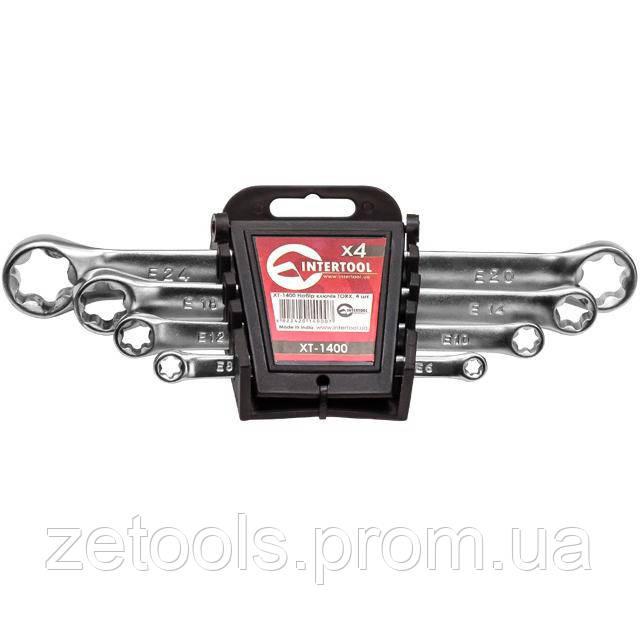 Набір накидних ключів TORX 4 шт. Т6-Т24 мм INTERTOOL XT-1400