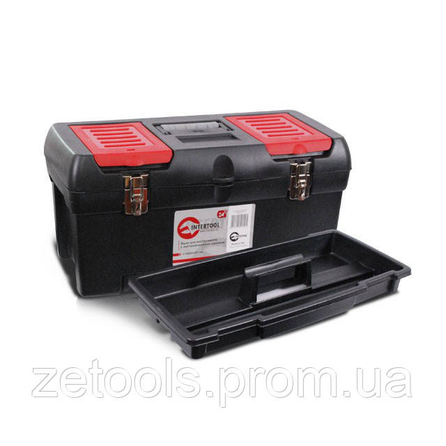 """Скринька для інструментів з металевими замками, 24"""" 610x255x251 мм INTERTOOL BX-1024"""