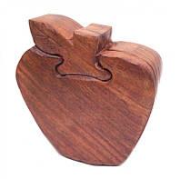 Шкатулка с секретом из красного дерева Яблоко
