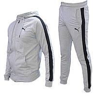 Спортивный мужской костюм Puma с капюшоном светло серый весна-лето, повседневный костюм  | AD sport
