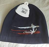 Трикотажная шапка для мальчика темно-синяя с аппликацией на морскую тематику, Jamiks, Польша, 50 см