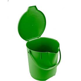 Поліпропіленове відро з кришкою зелене FALCON BUC12/LDGR