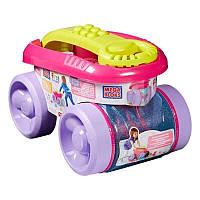 Детский Игровой Конструктор розовый Ящик-тележка прозрачная для сбора и хранения деталей Mattel Маттел