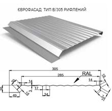 Фасадная Панель ЕВРОФАСАД тип В 305 мм 0,5 мм RAL 7024 PEMA ( Польша )