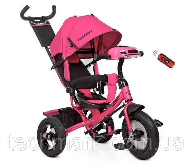 Велосипед дитячий триколісний на надувних колесах з ігровою панеллю на кермі Turbotrike (Рожевий)
