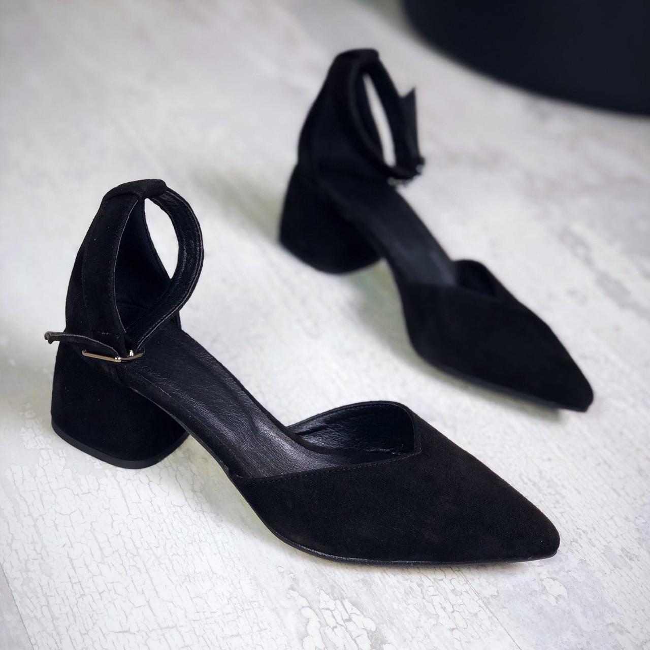 Шикарные замшевые туфли на каблучке 36-40 р чёрный