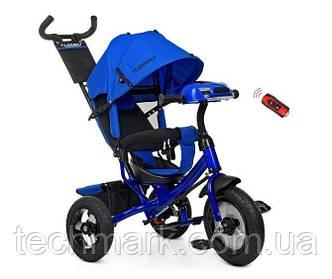 Велосипед детский трехколесный на надувных колесах с игровой панелью на руле Turbotrike (Синий)