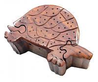 Шкатулка с секретом из красного дерева Черепаха
