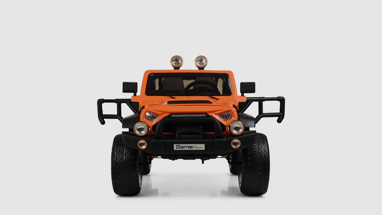 Электромобиль джип BAMBI M4111EBLR-7. Кожанное сиденье. Оранжевый
