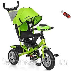 Велосипед детский трехколесный на надувных колесах с игровой панелью на руле Turbotrike (Зеленый)