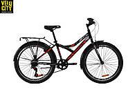 """Велосипед 24"""" Discovery FLINT vbr с багажником черно-оранжевый"""
