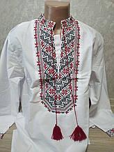 Мужская белая вышиванка с красной вышивкой - размер L