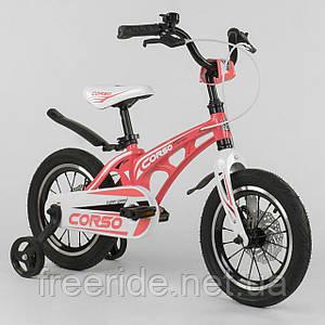 """Дитячий Велосипед CORSO MG-14"""" S (з посиленими спицями) рожево-білий"""