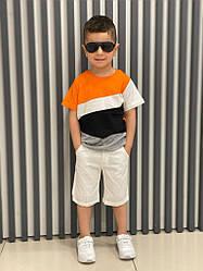 Трикотажная детская футболка на мальчика оранжево белая рост 104 см, 110 см