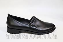 Жіночі чорні туфлі з натуральної шкіри. Жіночі шкіряні туфлі, чорного кольору.