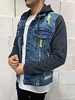 Мужская джинсовка синяя с капюшоном 2Y Premium yy0037