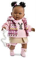 Дитяча Ігрова Іспанська Рухома Лялька для дівчаток Ніколь мулат з соскою в костюмі 42 см Llorens з вінілу