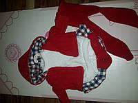 Одежда для детских игровых испанских кукол красный костюм на вешалке из мягких тканей Llorens 35 cм Ллоренс