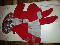 Одежда для детских игровых испанских кукол красный костюм с платьем на вешалке из мягких тканей Llorens 35 cм