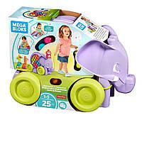 Детский Игровой Развивающий Конструктор с колесами и веревочкой Неуклюжий слон Mega Bloks Building Basics