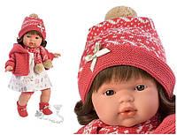 Детская Игровая Испанская Подвижная Говорящая Кукла для девочек Лола с соской в платье 38 см Llorens из винила