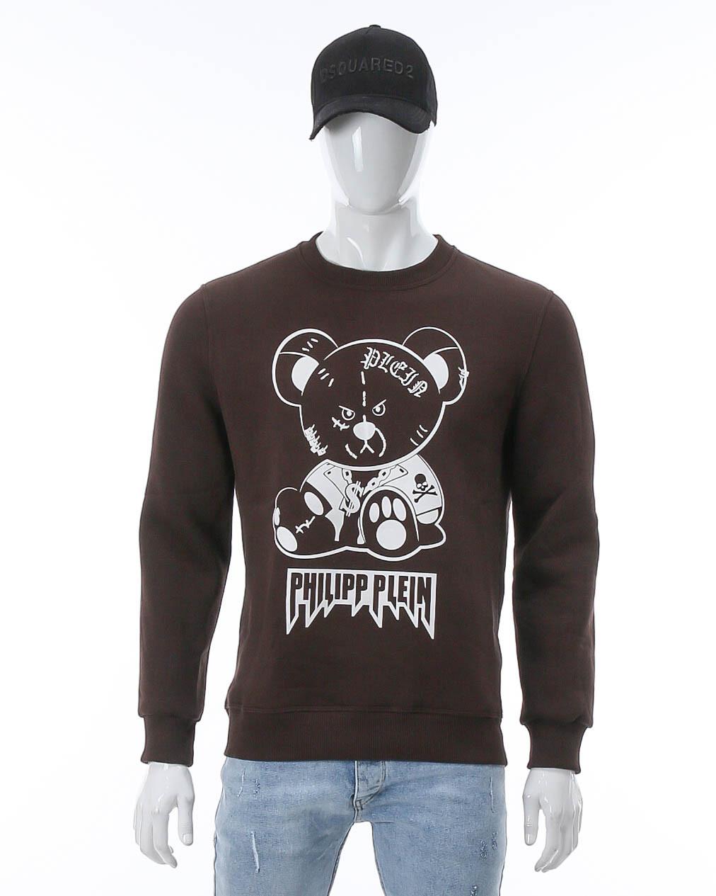 Свитшот осень-зима коричневый PHILIPP PLEIN Мишка $ BRN M(Р) 20-506-003