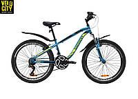 """Велосипед 24"""" Discovery FLINT AM vbr лазурно-желтый"""