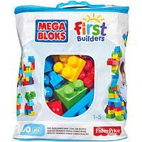 Детский Игровой Развивающий Конструктор для мальчиков 60 больших элементов в сумке Mega Bloks First Builders