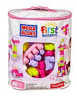 Детский Игровой Развивающий Конструктор для девочек из 80 розовых деталей в сумке Mega Bloks First Builders
